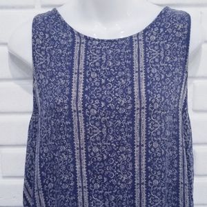 American Eagle Outfitters Tops - AEO  Blue Floral Lace Up Tank XL